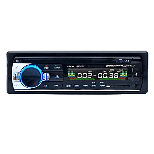 GEEDIAR Autoradio mit Bluetooth Freisprecheinrichtung und Abspielfunktion für Smartphone,Handy,MP3-Player,USB Anschluss und SD Kartenslot,4x 60Watt,Aux-Eingang (KT-6203 Schwarz)