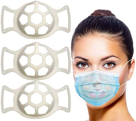 3-D Bracket for Wearing Silicone Face Bracket Inner Support Frame for More Breathing Space Reusable Washable Translucent