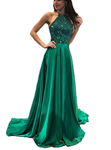Dresshine Women's Mock Two Pieces Beaded A-line Homecoming Long Prom Dress ()