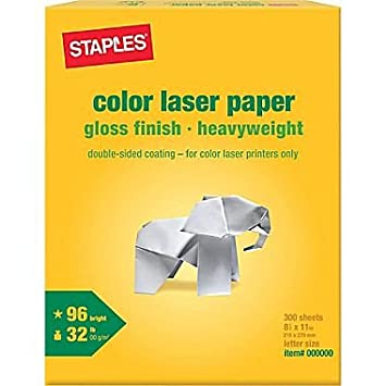 Amazon staples color laser paper 8 12 x 11 glossy 300 staples color laser paper 8 12quot x 11quot glossy reheart Image collections