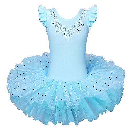 BAOHULU Ballet Leotards for Girls Full Skirted Dance Tutu Dress Party Costumes B184_Blue_M