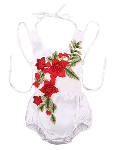 Baby Girls Halter Backless 3D Rose Floral Applique Ruffle Romper Sunsuit (0-6M, White)