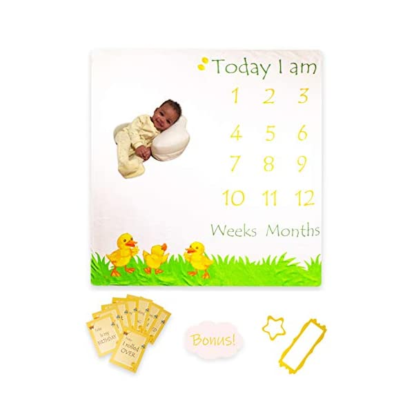 Baby Milestone Monthly Blanket | Photography Backdrop Photo Prop for Newborn Boy & Girl | Large Soft Fleece Blank | Gender Reveal and Baby Shower Gift | Unisex/Neutral Ducks Design
