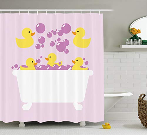 Lunarable Duckies Shower Curtain, Abstract Floating Yellow Rubber Ducks with Purple Bubbles in a Tub Design, Cloth Fabric Bathroom Decor Set with Hooks, 70