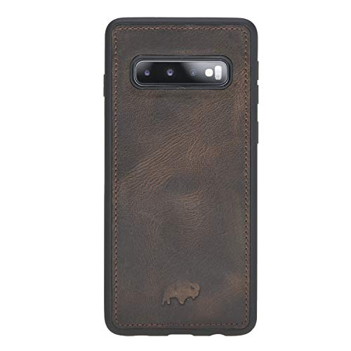 360 Degree Leather Snap Case Back Cover Designed for Samsung Galaxy S10 (6.1 inch), Burkley Case Hand-Wrapped in Premium Turkish Leather (Distressed Antique Coffee)