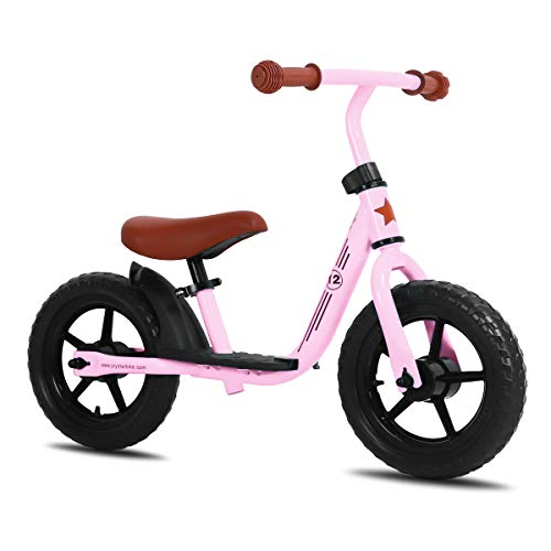 JOYSTAR 12 inch Balance Bike with for Child, Girls & Boys Glider/Slider Bike, No Pedal Bicycle for 2 3 4 5 Years Children, Pedaless Cycle, Pink