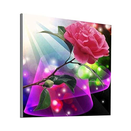 Price comparison product image DIY 5D Diamond Painting by Number Kit, Full Drill Retro Flower Rhinestone Embroidery Cross Stitch Supply Arts Craft Canvas Wall Decor Ecologic Wall Sticker Decoration(A, 30X30cm)