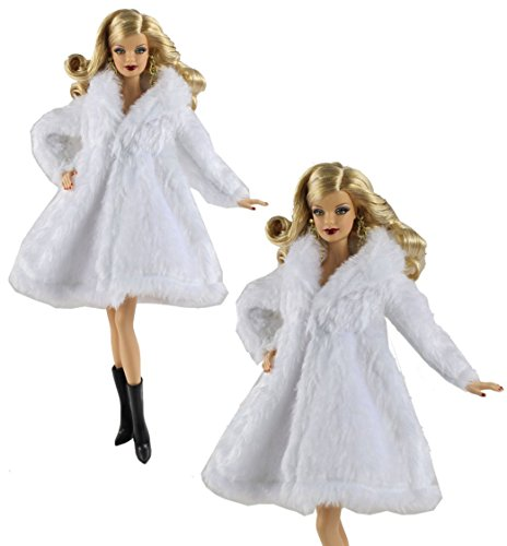 "HongShun White Fashion Fur Coat+Boots for 11"" Barbie Doll"