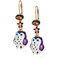 Betsey Johnson Surreal Forest Purple Owl Drop Earrings