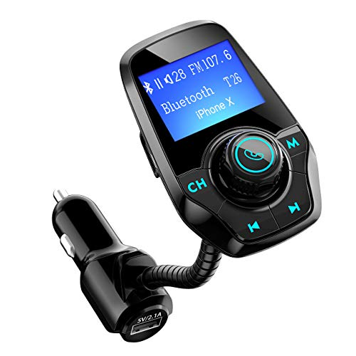 (Bluetooth FM Transmitter for Car, TopElek Wireless Radio Transmitter Adapter with Power Off Function, Hands-Free Car Kit Charger, 1.44'' LCD Diaplay, Music Player, 2 USB Ports, AUX in, TF Card)