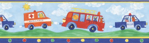 Brewster 443B97633 Blue Fire Truck Border, Blue (Border Truck Fire Wallpaper)