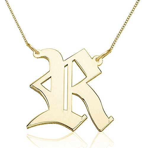 - Personalized 925 Sterling Silver Old English Necklace Custom Made with Any Initial 14-22 Inch Chain (Gold)