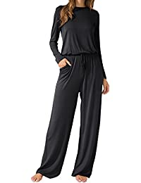 Women's O Neck Loose Wide Legs Casual Jumpsuits with Pockets