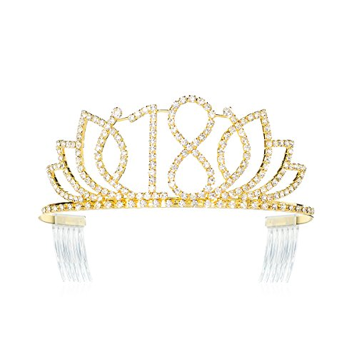 DcZeRong Princess Sweet Girls 18 Birthday Tiara Crown Gold Rhinestone Crystal Diamond Crown Tiara]()