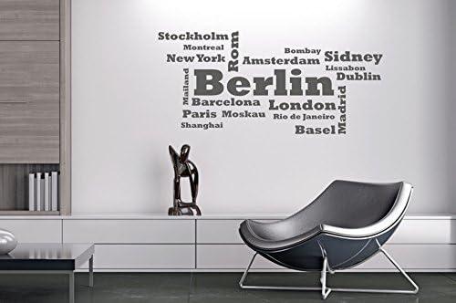 Pared Adhesivo Palabra Ciudades Wolke NR 1 Ciudades Países New York tamaño 80 x 36, gris claro, 80x36: Amazon.es: Bricolaje y herramientas