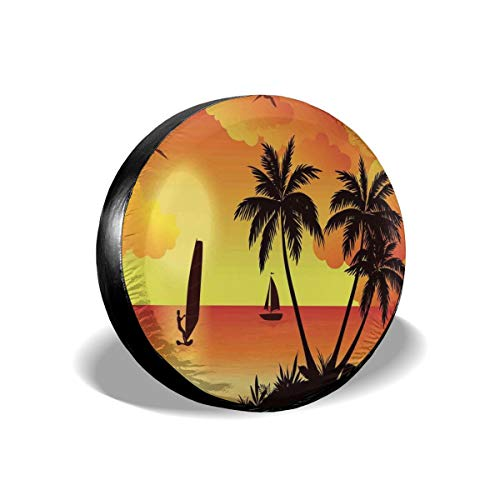 (GULTMEE Tire Cover Tire Cover Wheel Covers,Sunset Sea Beach with Coconut Palms Surfer Ship and Gulls in Sky,for SUV Truck Camper Travel Trailer Accessories(14,15,16,17 Inch) 14)