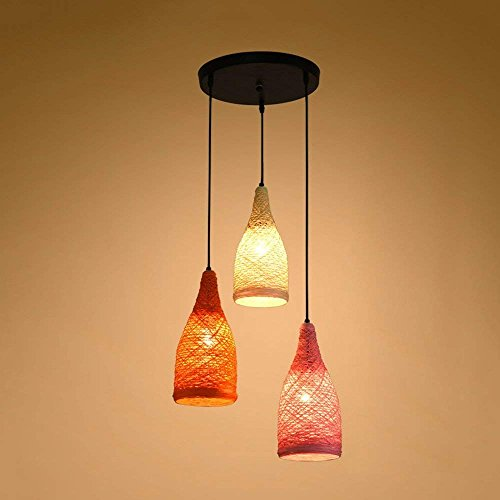 Modeen Creative fashion three heads hemp rope grass willow rattan ceiling light chandelier light modern minimalist restaurant living room decorated Pendant lamp (Size : -