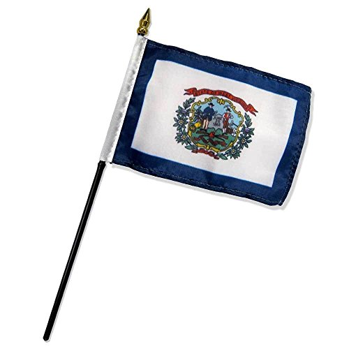 ALBATROS West Virginia State Flag 4 inch x 6 inch with Stick for Desk Table for Home and Parades, Official Party, All Weather Indoors - Virginia Cavaliers Runner