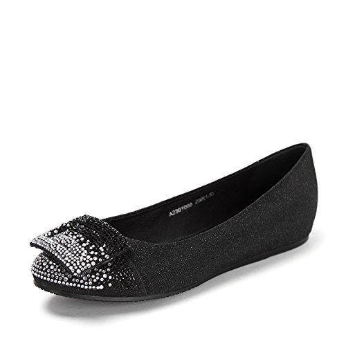 Ronda de bailarinas planas de primavera/Lado hebilla ornamento taladro plana zapatos de mujer A