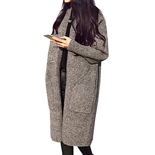 Giacche Maglia Pullover Lunghi Outerwear Tendenza Manica Tasche Casuale Autunno Invernali Ragazza Alta Vita Forcella Cappotto A Aperto Con Caldo Grau Chic Giacca Lunga Donna Eleganti HqtannU5