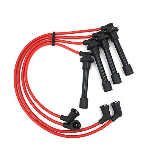Spark Plug Wires Ignition Conductor Cables Leads with High Performance Silicone Compatible with certain Acura Honda Accord Civic CL EL Isuzu Oasis 1994-2002 1.6L 2.2L 2.3L H (4PCS) ()