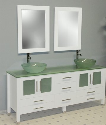 Cambridge Plumbing 71 inch Solid Wood & Frosted Glass Double Vessel Sink Vanity Set with Brushed Nickel Faucets.