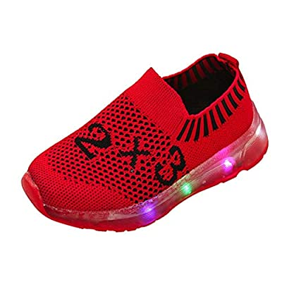 Fiaya Girls Boys Led Light Star Luminous Breathable Mesh Slip-on Sneakers Sport Walking Running Shoes (Toddler/Little Kid/Big Kid) from Fiaya
