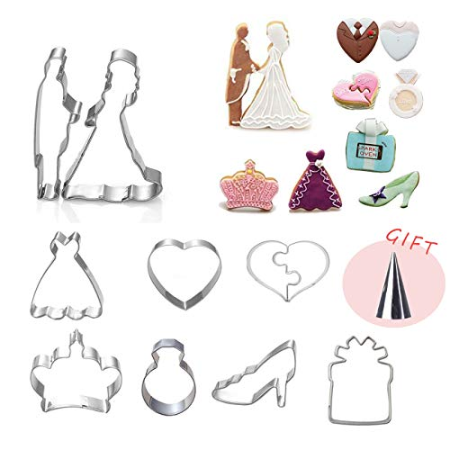 Heart Cookie Cutter Set 9Pack Wedding Valentines Day Engagement Anniversary Cake Fondant Pancake Mold Pack Diamond Ring Dress Shoes Crown, Stainless Steel