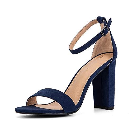 - Moda Chics Women's High Chunky Heel Pump Dress Sandals Navy MF 9.5 B(M) US