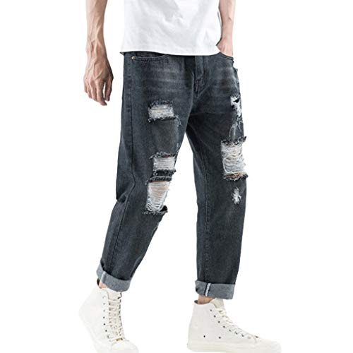 Men's Relaxed Fit Boot Cut Jean Slim Fit Ripped Distressed Stretch Denim Pants Jogger Moto Biker Tapered Jeans Black