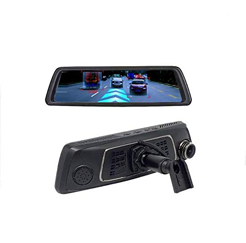 Full HD Car DVR Dashboard Camera, Driving Recorder with 10 Inch LCD Screen Android Navigation Rearview Mirror Multifunction ETC