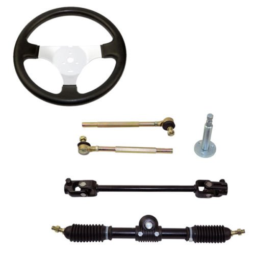 Set of Go Kart Steering Wheel Assembly 110CC Tie Rod RACK Adjustable Shaft Great