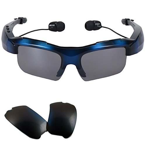TopePop Wireless Stereo Bluetooth Sunglasses Glasses Headset Headphones with Replacement Polarized Glasses For Smartphones Huawei Ascend P8 Lite P7 Samsung Galaxy S5 S6 S7 Blue
