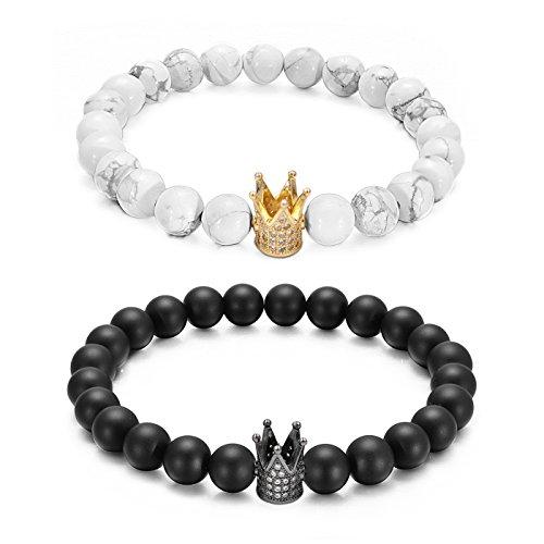 L.Beautiful Distance Couples Bracelets 8mm Beads Black Matte Agate & White Howlite Queen King Crown CZ Lovers Bracelet,7.5