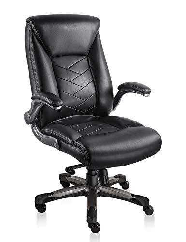 Statesville Ergonomic Leather Office Chair with Flip-up Armrest Heavy Duty Executive Office Chair Adjustable Backrest Comfortable Swivel Desk Chair (Black)