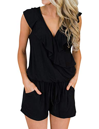 MIROL Women's Summer Sleeveless V Neck Ruffle Shorts Elastic Waist Jumpsuit Rompers with Pockets Black (Ruffles Black Pink)