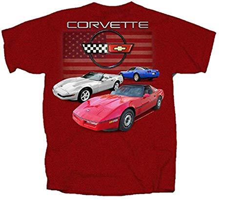 Joe Blow Chevy Corvette C4 Flag T-Shirt, Large, Antique Cherry