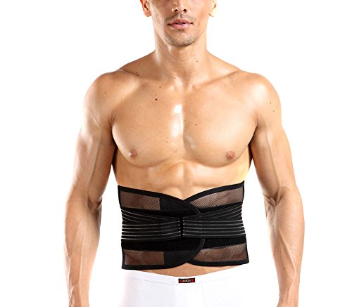 EUBUY Double Adjust Lower Back Brace Unisex Lumbar Support Belt Back Pain Relief Abdomen Binder for Men Women - Great for Work Sport and Exercise