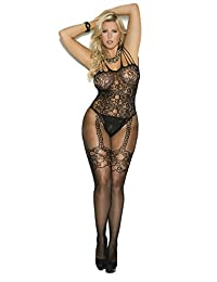 Sexy Women's Plus Size Lingerie Fishnet And Lace Open Crotch Bodystocking