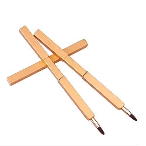 Meolin Retractable Portable Lipstick Brush Cosmetic Brush Beauty Tool,Gold,Metal shell + rayon
