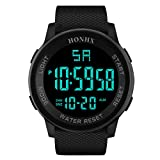 XBKPLO Mens Digital Watch,Sport Multifunction Waterproof Military Analog Wrist LED Watches Concise TPU Silicone Strap (Black)