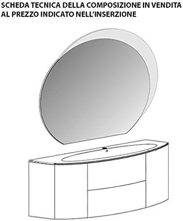 mueble de baño suspendido Moderno Eden Touch Gris naturaleza, tamaño CM 120, con Espejo de LED y Lavabo de cristal: Amazon.es: Hogar