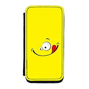 Cute Smiling Face Yellow Premium Faux PU Leather Case, Protective Hard Cover Flip Case for iPhone 5C by UltraCases