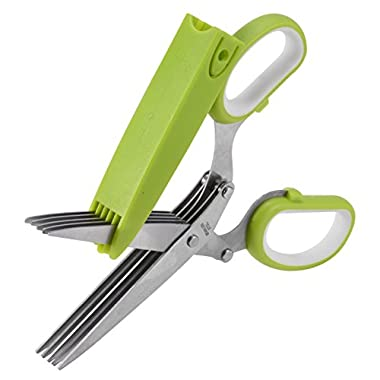 Herb Scissors, X-Chef Kitchen Scissors 5 Blades Stainless Steel with Clean Comb Cover Fast and Easy Clean