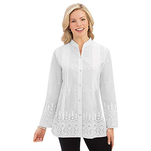 Women's Stylish Eyelet Border Pintuck Button-Front Long Sleeve Tunic with Pleated Bust, White, Large