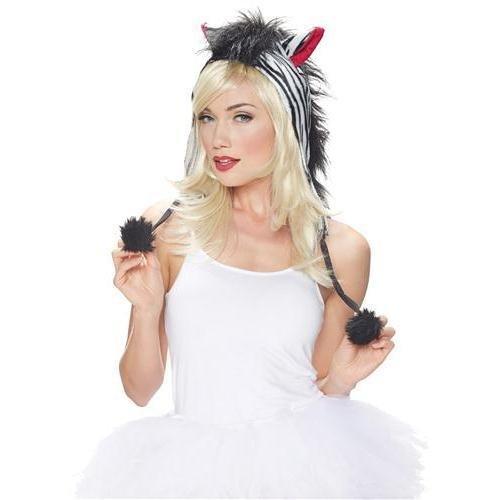 Morris Costumes Kit Hood Zebra Blk/Wht -