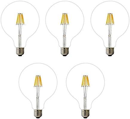 Bombilla LED G125, E27, 4 W, 6 W, 8 W, 220 V AC. Filamento LED 2200 K. luz blanca Cálida. Bombilla con forma de globo. Diámetro: 125 mm. Regulable