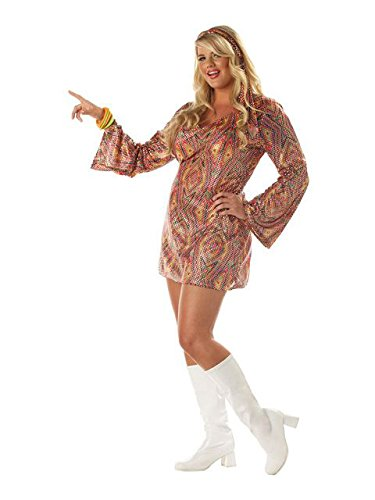 California Costumes Women's Plus-Size Disco Dolly Plus, Multi, -