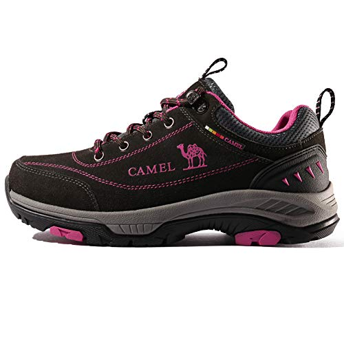 CAMEL CROWN Womens Leather Hiking Shoes Breathable Lightweight Outdoor Trekking Shoes Non-Slip Walking Shoes Dark Grey 37