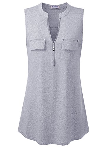 Bulotus Women's V-Neck Casual Tunic Tank Tops Zipper Sleeveless Blouse Shirt Gray ()